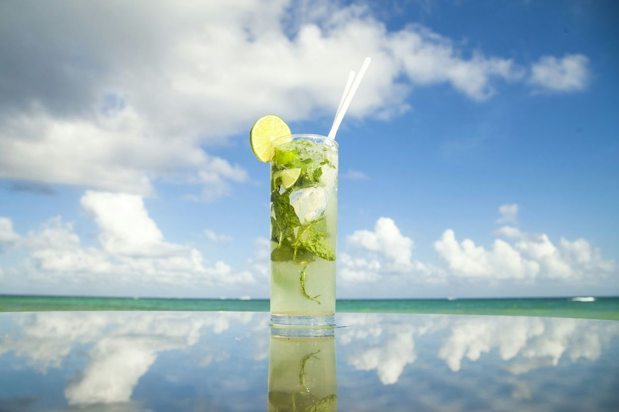 Caribean drink Mojito! Mojito Time Lime Lemon Reflection Clouds No People Tranquility Holidays Glass Caribe Mexico Playa Del Carmen Lamartina Rum Cocktail