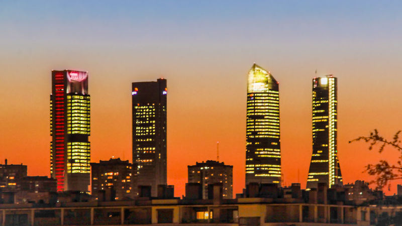 Architecture Atardecer Building Exterior Business Check This Out City Cityscape EyeEm Gallery Illuminated Madrid Towers Malephotographerofthemonth Modern Night No People Outdoors Sky Skyscraper Soft Colors  Sunset Torres De Madrid Travel Destinations Urban Skyline Madrid The Architect - 2017 EyeEm Awards