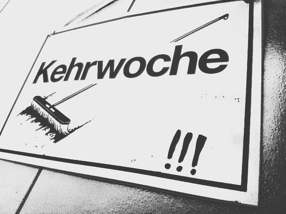 Typisch schwäbisch...😄 White White Background Black Font Hanging Picture Label Broom