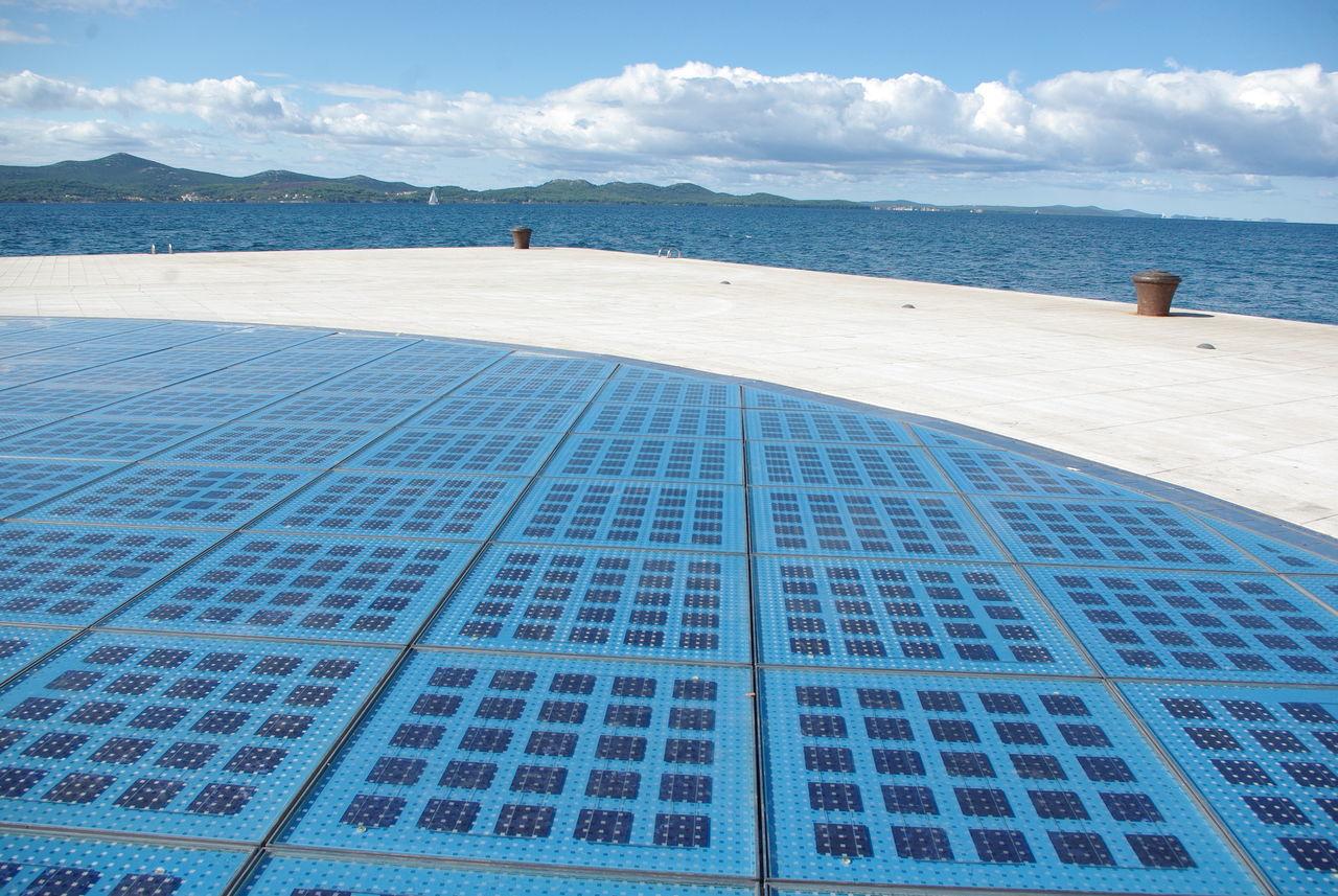 Blue Modern New Sea Solar Panel Sustainable Development Technology Water