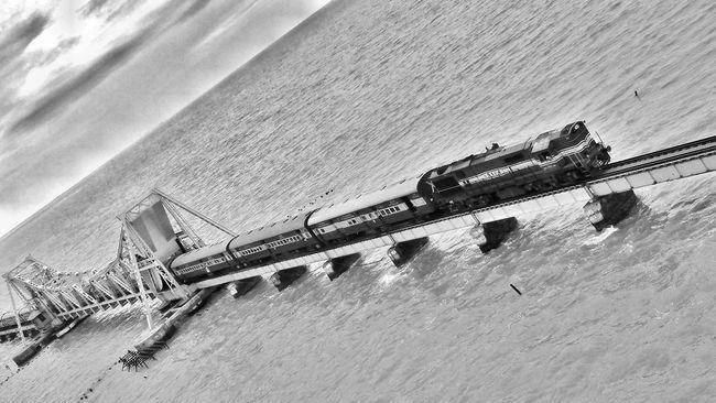 Day No People Calm Sea Scenics Tranquil Scene Beauty In Nature Cloudscape Aerial View Sky Cloud Transportation Train Bridge Rameshwaram Black & White Famous Architecture Famous Tourist Attractions Famous