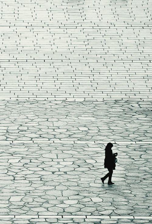 Walking Girl Black And White Monotone Square