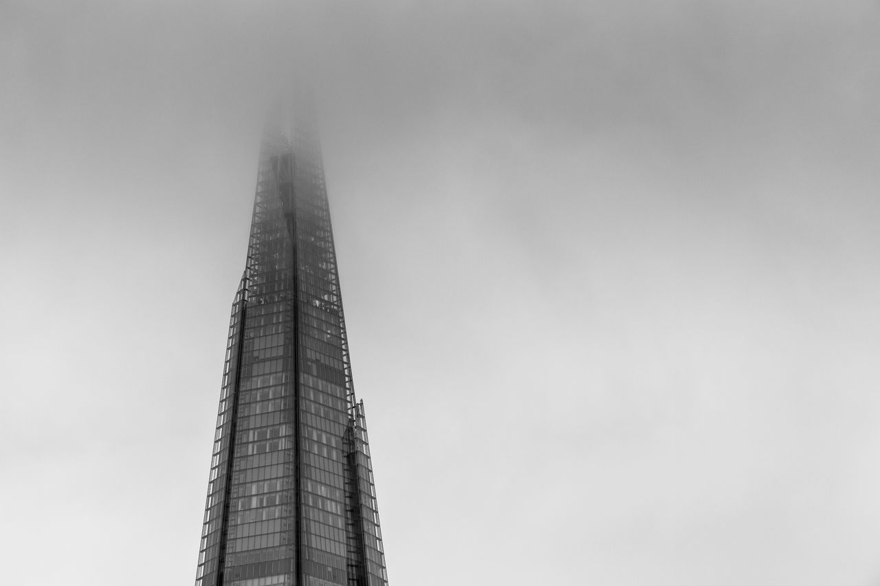 Architecture Black And White Built Structure City Clear Sky Cloud Day Explore Famous Places Landmark London Low Angle View Modern Moody Sky Nature No People Office Outdoors Sky Skyscraper The Shard Tourism Tower Travel Uk