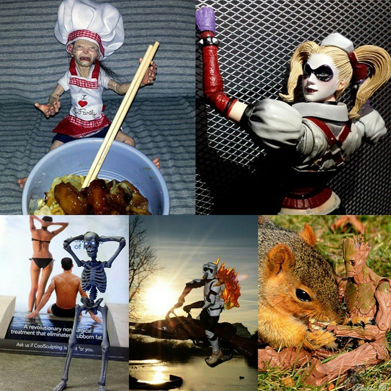 Tagged by the awesome @smacktoys for my Fivefavouritefigures as of right now. -Top left: Neca Gollum, -Top Right: Playarts Harley Quinn, -Bottom Left: Revoltech Skelton, -Bottom Middle: Black Series Scout Trooper, -Bottom Right: BMF Groot . I'll tag @krash_override @pjones714 @mad_phoenix @toysbybrandonman @_sidechops_ if they wanna play along.