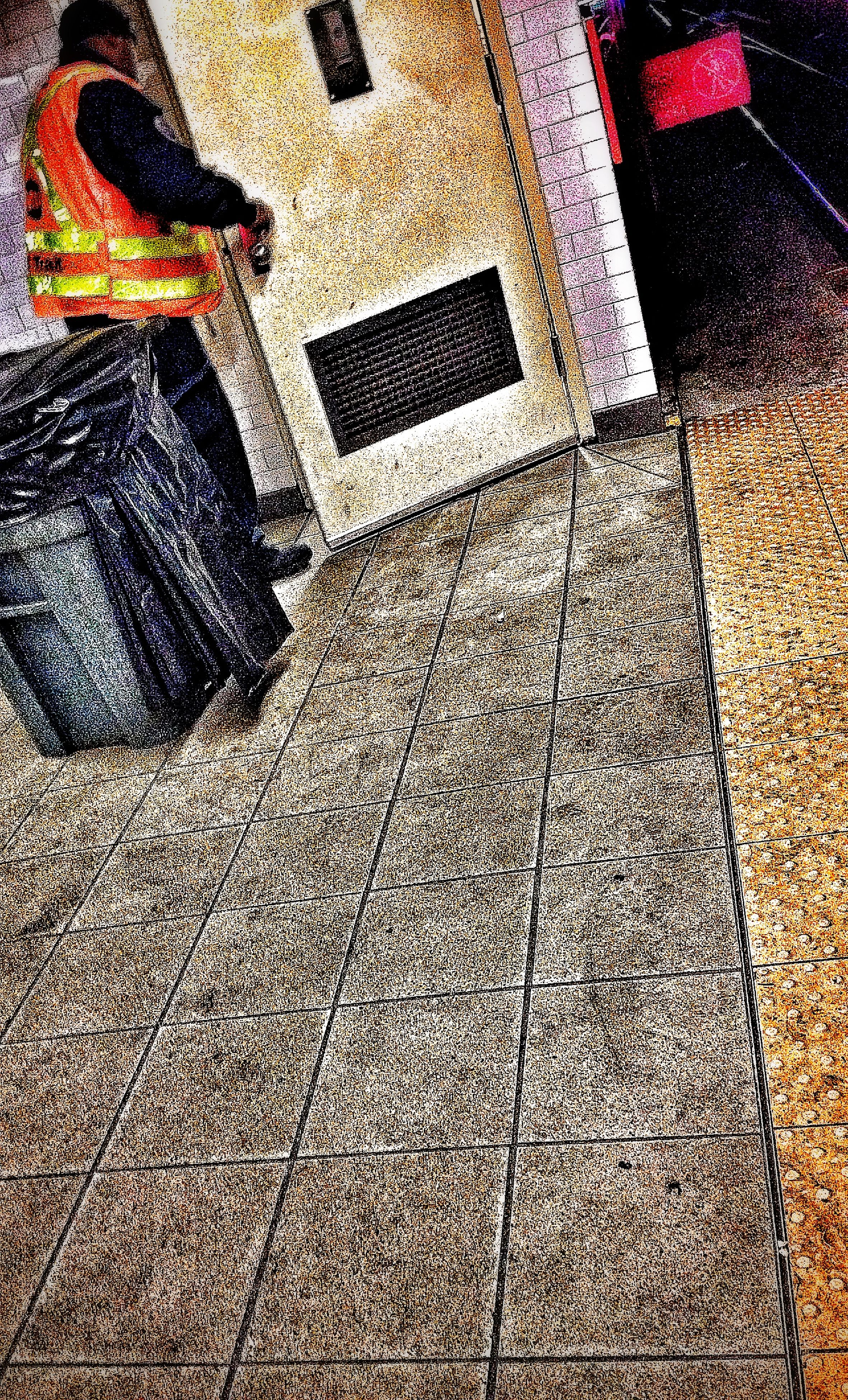 high angle view, street, pattern, lifestyles, standing, sidewalk, shadow, tiled floor, flooring, shoe, low section, leisure activity, paving stone, cobblestone, wall - building feature, outdoors, textured, architecture