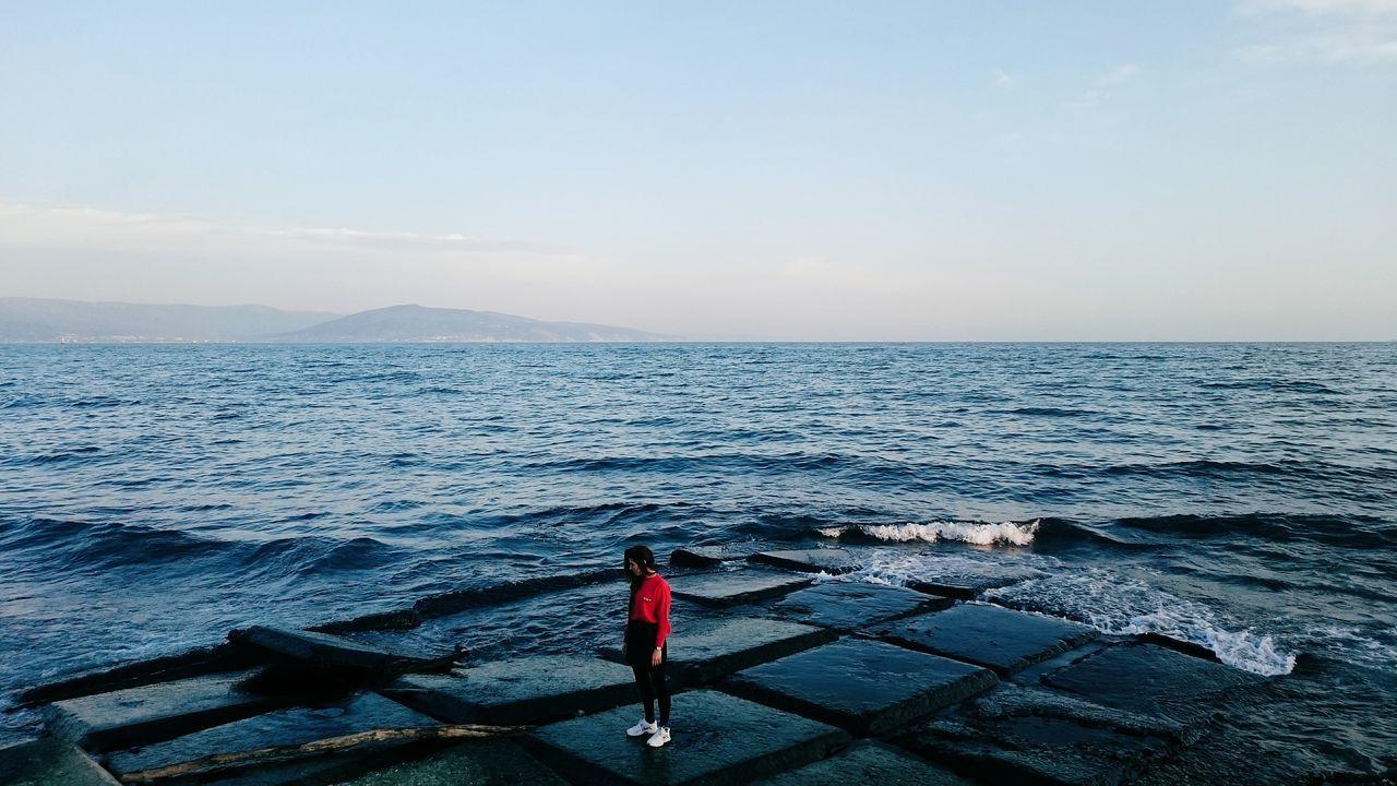 EyeEm EyeEm Best Shots EyeEm Nature Lover EyeEmBestPics Sea Black Sea Mountains Sky Red Blue Sky Waves Girl Showcase: February Q Landscape With Whitewall People And Places
