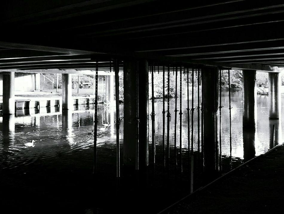 Black & White Monochrome Light And Shadow Architecture Bridges Under The Bridge Riverside Ducks Smartphonephotography Samsung Galaxy S6 Edge