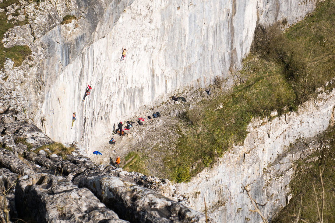 Cliff Climbers Climbing Countryside Day Malham Malham Cove Nature Outdoor Life Outdoors Rock Climbers Rock Face Tourists Yorkshire Yorkshire Dales