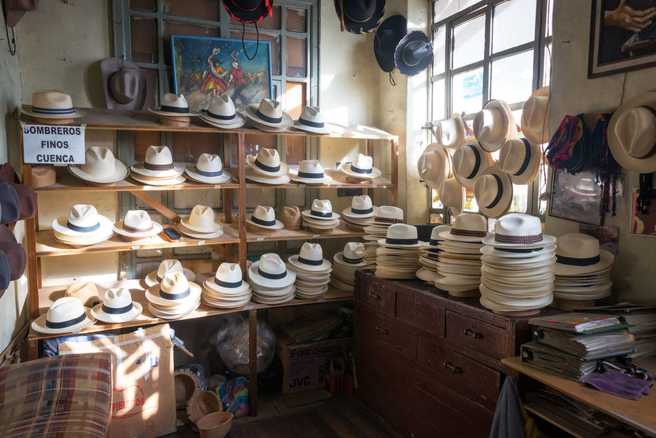 Shop selling Panama hats in Cuenca, Ecuador Clothing Ecuador Handmade Hat Hats Indoors  Large Group Of Objects Latin America Market No People Panama Hat Panama Hats Panamá Retail  South America Straw Tourism Traditional Travel Travel Destinations White