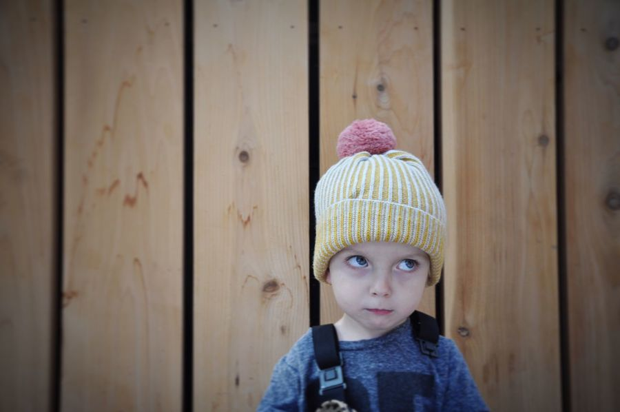 Knit Hat One Person Warm Clothing Portrait Childhood Indoors  Day Close-up Bobble Hat