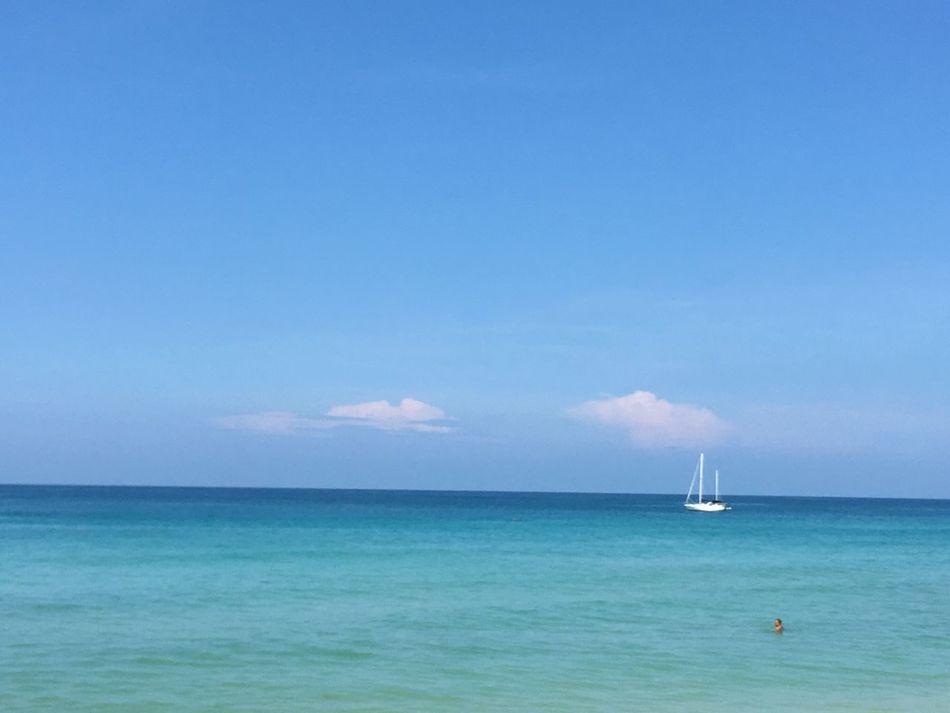 Sea Sea And Sky White Boat Tiny Humans Nature Phuket,Thailand Kata Beach Blue