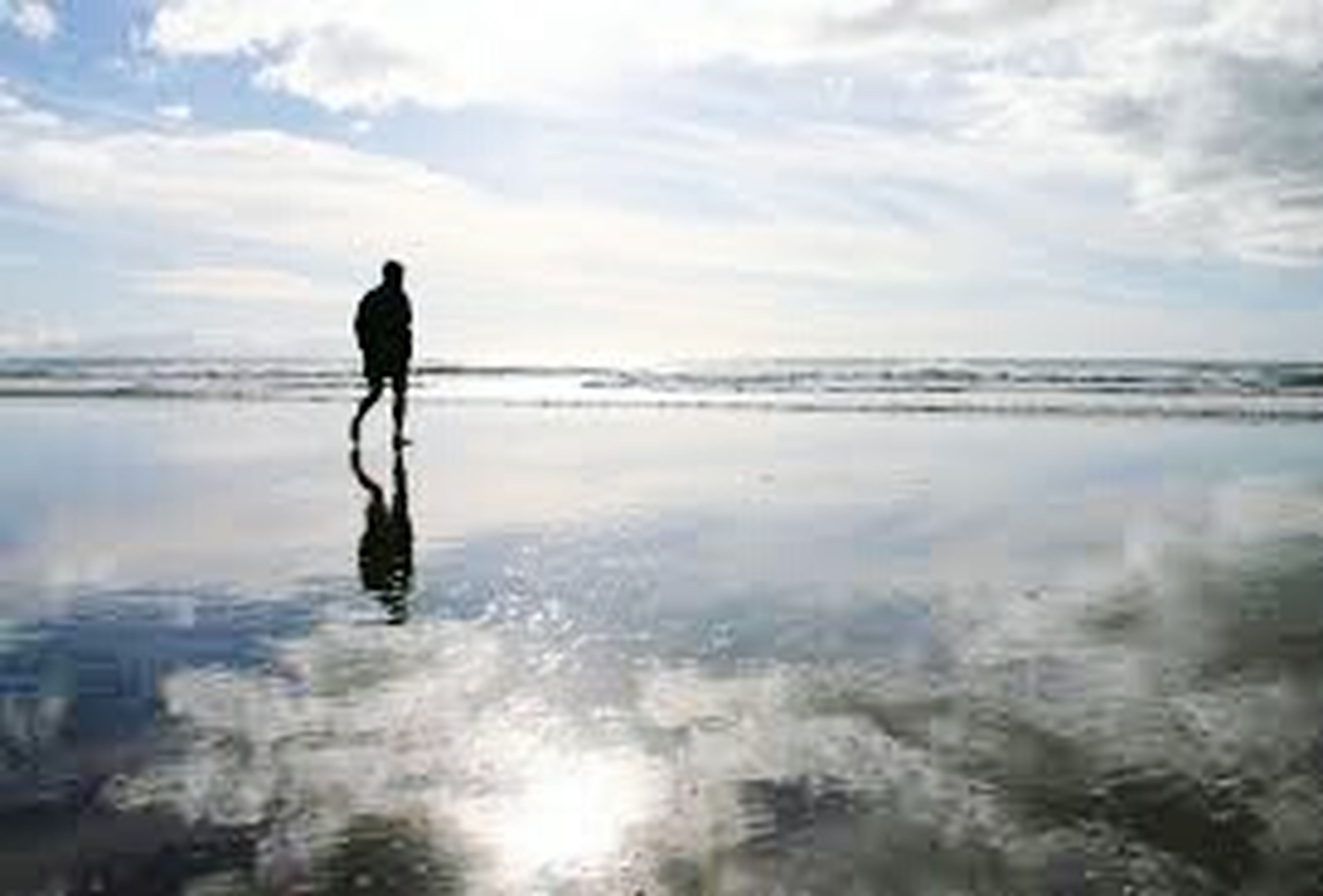 reflection, water, standing, beach, full length, sea, silhouette, horizon over water, tranquil scene, tranquility, vacations, scenics, leisure activity, idyllic, shore, calm, beauty in nature, sky, nature, relaxation, solitude, getting away from it all, escapism, remote, coastline, tourism, person, day, ocean