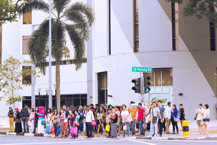 City City Life City Street City View  Citylife Cityscapes Communication Day Large Group Of People Lifestyles Mixture Of Culture Outdoors Palm Tree People Road Standing Peopl Street Tree Showcase April The Street Photographer - 2016 EyeEm Awards People And Places