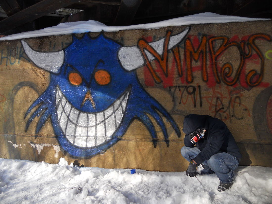 Blue Face Troll Urban Art Original Art Graffiti That's Me Art Art, Drawing, Creativity Shalograv Underground Artistic Expression Street Art Stunning Shots Graphic Design My Hobby Abandoned Places Notes From The Underground Secret Places
