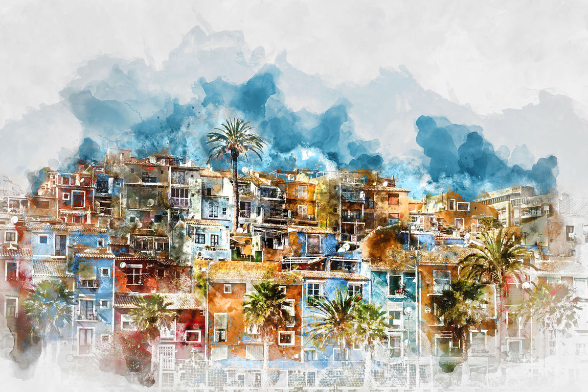 Digital watercolor painting of Villajoyosa town, Costa Blanca. Province of Alicante, Valencian Community, Spain Alicante Province Spain Architecture Art Colorful Costa Blanca Digital Art Digital Painting Digitally Generated Europe Houses Illustration Multicolored Houses No People Nobody Outdoors Palm Trees Picturesque Village SPAIN Tourism Tourist Resort Town Travel Destinations Villa Joyosa Village Villajoyosa