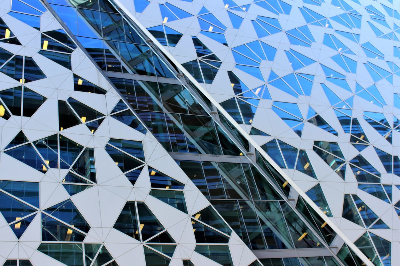 Architecture Pattern Built Structure Futuristic Low Angle View Modern Building Exterior City Sky Blue Day Outdoors Oslo Barcode Architecturephotography Modern Architecture Architectural Feature Architecture_collection Modern Financial District  Urbanphotography Urban Skyline No People The Architect - 2017 EyeEm Awards