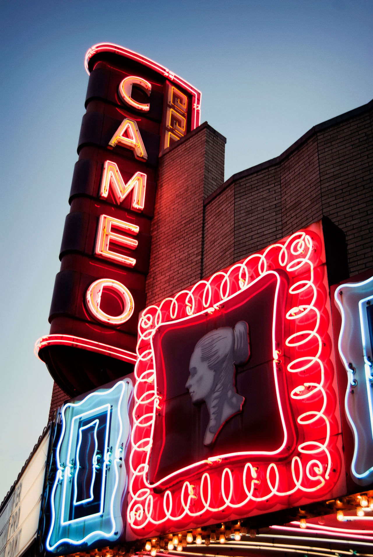 Architecture Arts Cameo  City Colorful Day Illuminated Light Lights And Shadows Low Angle View Movies Neon Neons No People Outdoors Red Retail  Sky Text Theatre