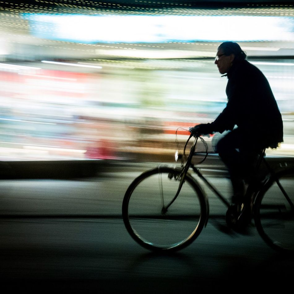 Blurred Motion Bicycle Motion Real People One Person Transportation Men Outdoors People Streetphotography Sebastianriegerphotos