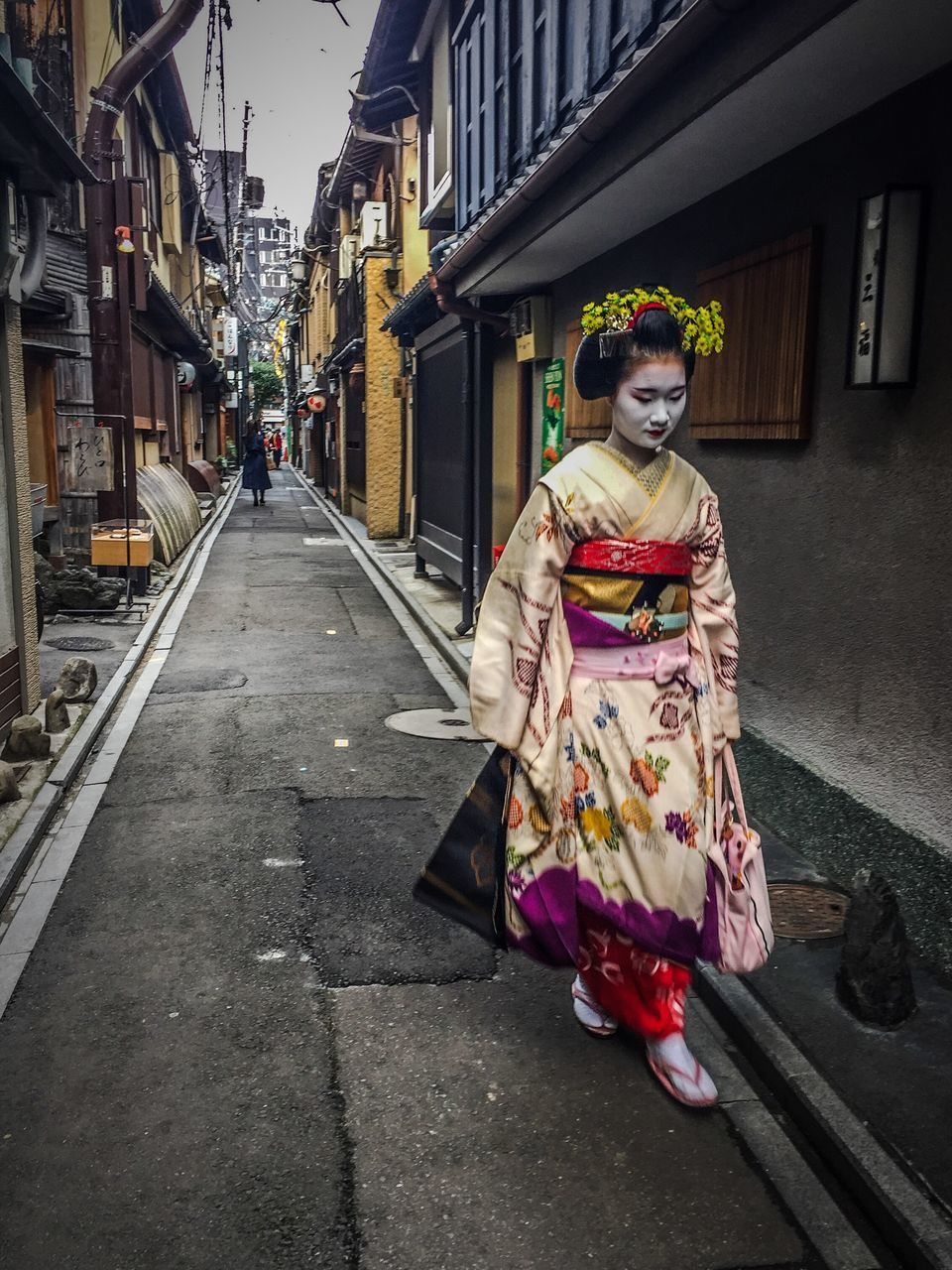 building exterior, real people, built structure, architecture, traditional clothing, one person, kimono, full length, outdoors, women, day, sky, people