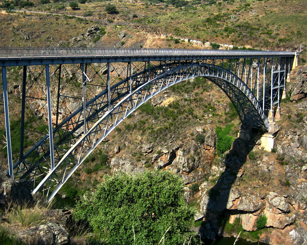 bridge - man made structure, connection, arch, transportation, built structure, day, high angle view, architecture, railing, river, outdoors, nature, no people, landscape, tree