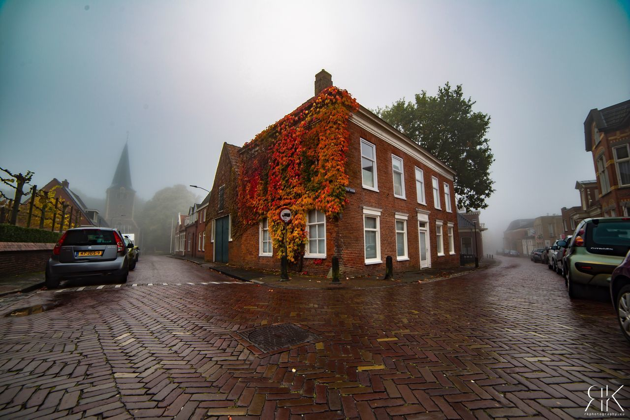 Look at this colors at the house😍🍁🍂 Built Structure Architecture Building Exterior No People Outdoors Day Nature Sky Landscape Autumn Autumn Colors Nature Holland Fog Plants Colors