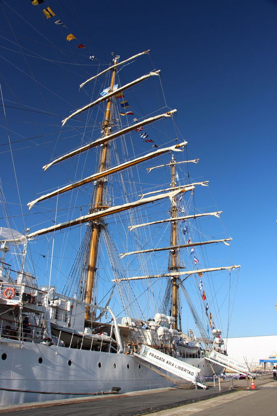 Beauty In Nature Blue Clear Sky Cold Temperature Day Fragata Low Angle View Mast Nature Nautical Vessel No People Outdoors Scenics Sky Snow Sunlight Travel Destinations Winter