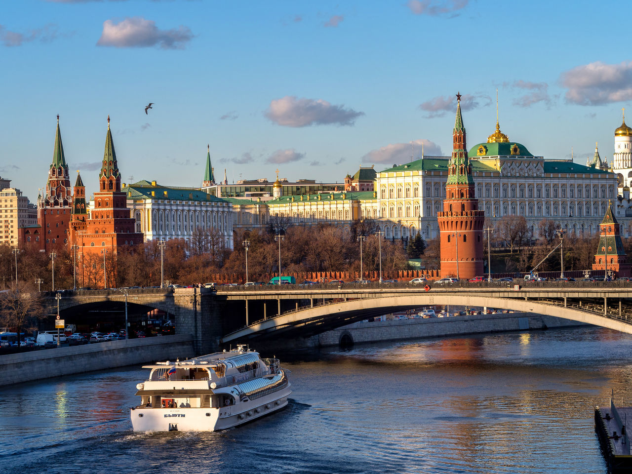Russia, Moscow, the sunset, the Kremlin, Moscow river Architecture Bridge - Man Made Structure Building Exterior Built Structure City Cityscape Clock Clock Tower Cloud - Sky Connection Cultures Government Moscow Moscow River Nautical Vessel No People Outdoors Politics And Government River Russia Sky Sunset The Kremlin Tourboat Travel