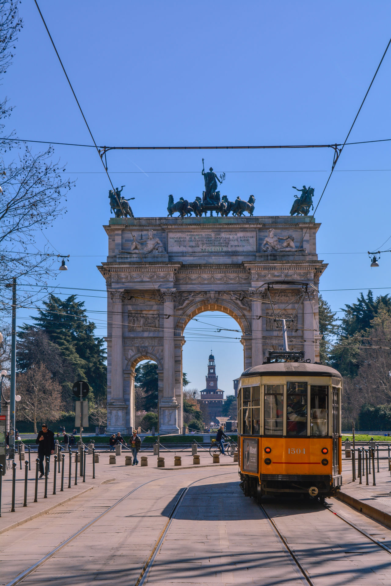 Tram City Architecture City Street Outdoors Urban Road Cityscape City Gate No People Day Arcodellapace Milano Flowers Nature Spring Springtime Milan Growth Sky Beauty In Nature Hello World Tranquility Amazing View Clouds Sunset