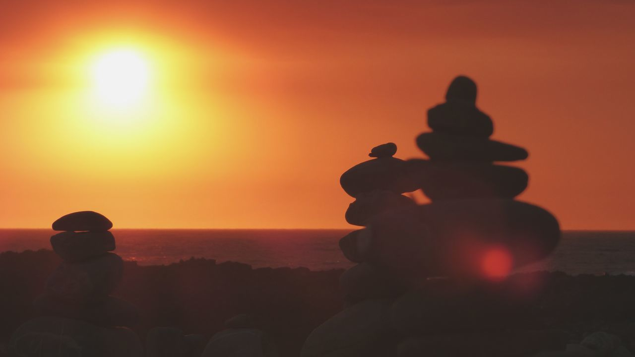 EyeEm Selects Sunset Orange Color Silhouette Sun Water Nature No People Scenics Sea Sky Red Rocks And Sea Photography Themes Portugal The Week On EyeEm Zen Rock At Sunset Stack Zen Like Balance Zen Rocks Sunset_captures Zen Standing