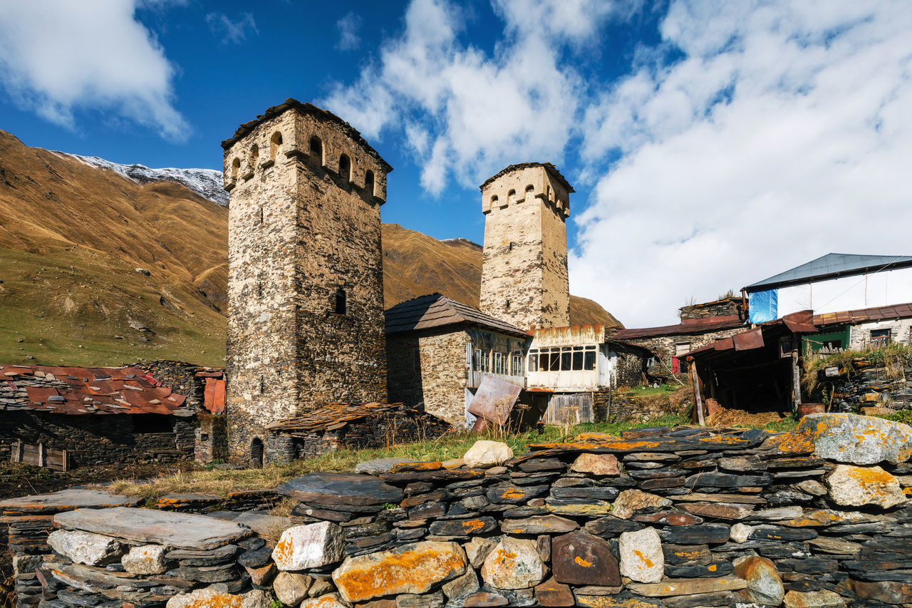 Traditional Svan Towers and machub house with flagstone in Ushguli village, Upper Svaneti, Georgia. Georgian landmark Architecture Architecture Architecture_collection Building Exterior Built Structure Community Georgia Georgian Landmark Medieval Old Ruin Outdoors Sky Stone Material Svaneti Towers Traditional Travel Destinations Traveling UNESCO World Heritage Site Village