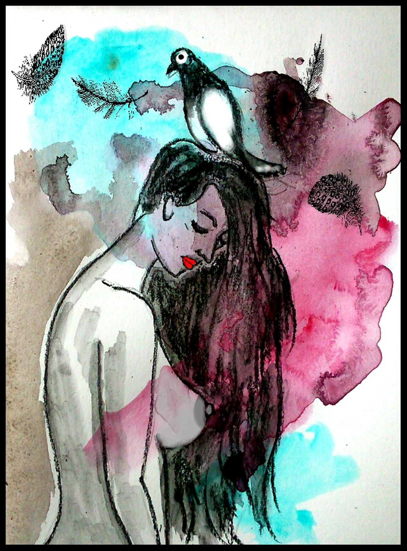 Watercolor Painting Sketch Pad Drawing - Art Product Beauty Artistic Human Representation Myartwork Sketch Art And Craft