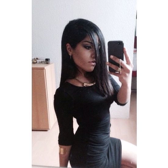 Bored Party Night Makeup Selfie Girl Girlswithtattoos Black Dress GoingOut