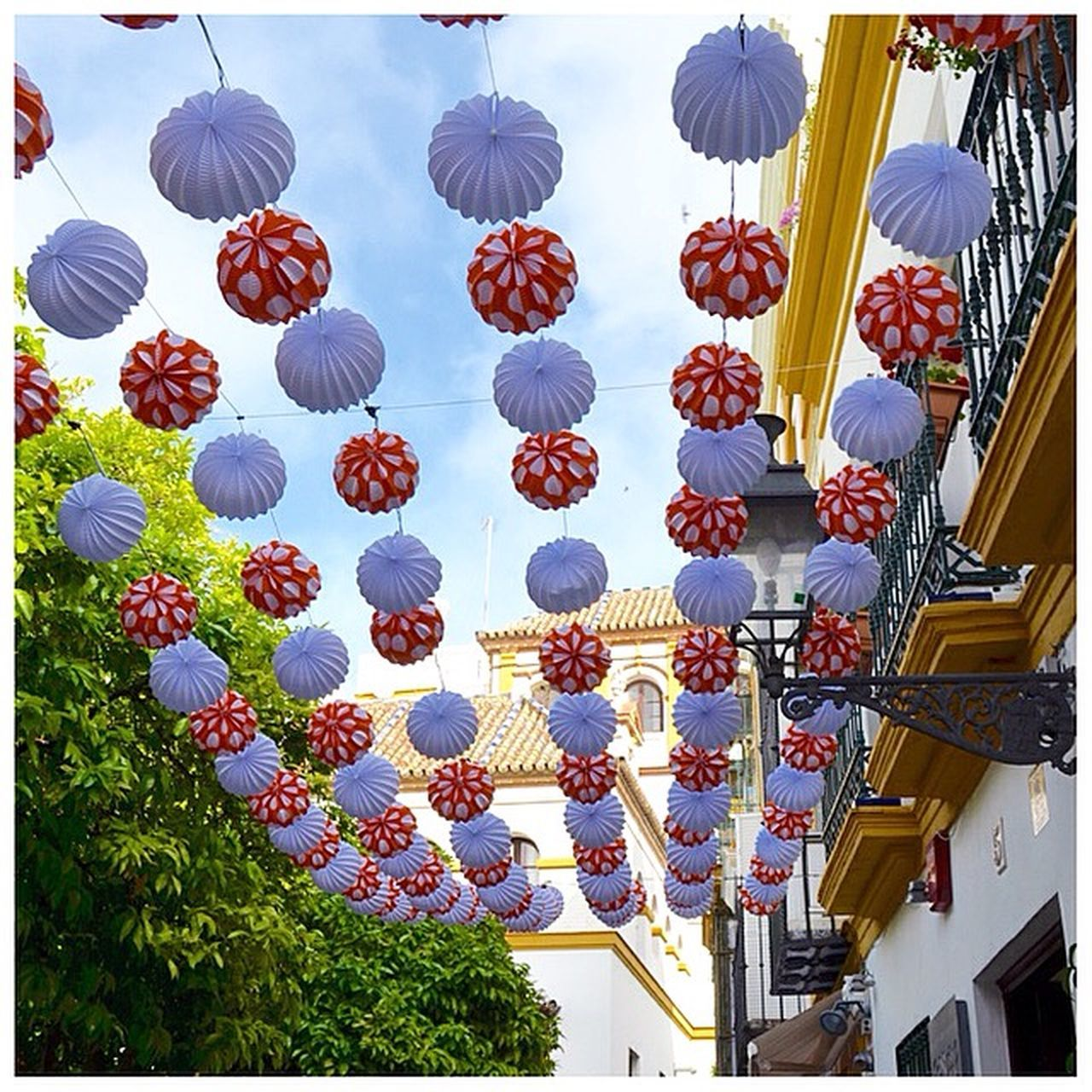 hanging, multi colored, lantern, no people, outdoors, day
