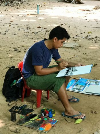 One Man Only Painter - Artist Painted Image Skilled Young Adult WhenInCambodia Backpacker Outdoors Travelphotography Travel Destination Collectingmemories Mobilephotography Traveler Solotraveler Travelgoals