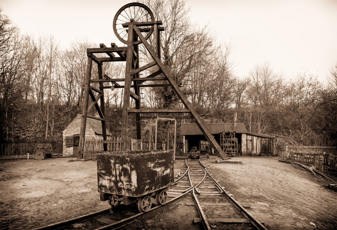 at the Black Country Living Museum ( BCLM ) in Dudley, West Midlands, England BCLM Black Country Museum Coal Mine Mine Head Pit Head Frame Social History Black Country Living Museum Coal Coal Mining Living History Living History Museums Mine Mining Mining Heritage No People Old-fashioned Pit Rail Railroad Track Railway Yards Sepia