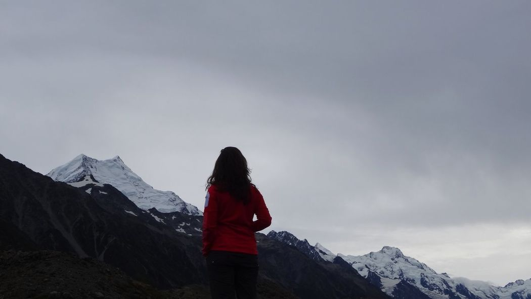 Mountain Snow One Person Mount Cook New Zealand Scenics Sky Real People Lifestyles Mountain Range Travel Traveling Hiking Woman Leisure Activity Tranquility Fog Foggy Mountains Standing Outdoors Nature Tranquil Scene Rear View Day