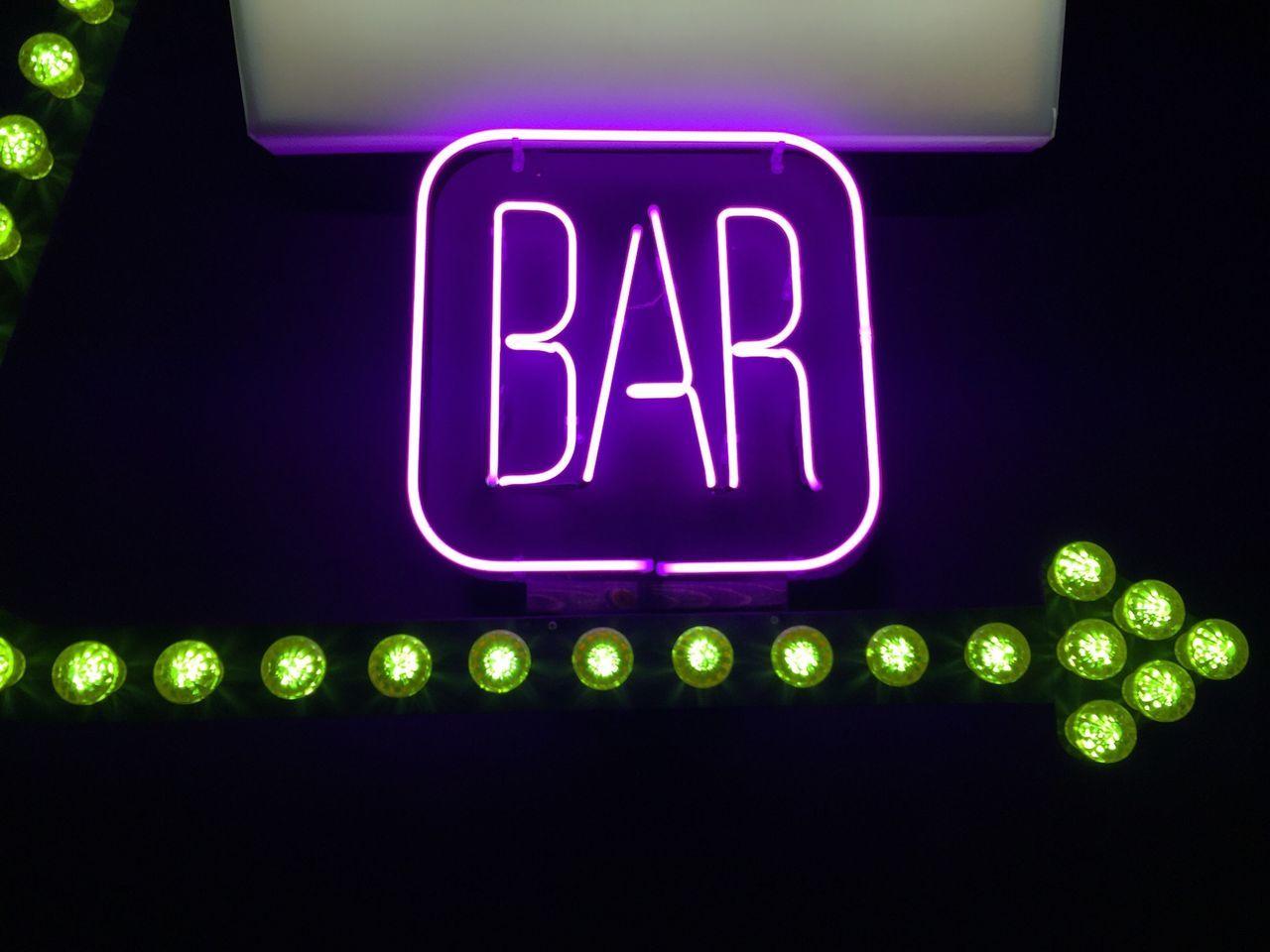 Bar Sign Neon Green Pink This Way Arrow Purple Pastel Power Lights Buzz