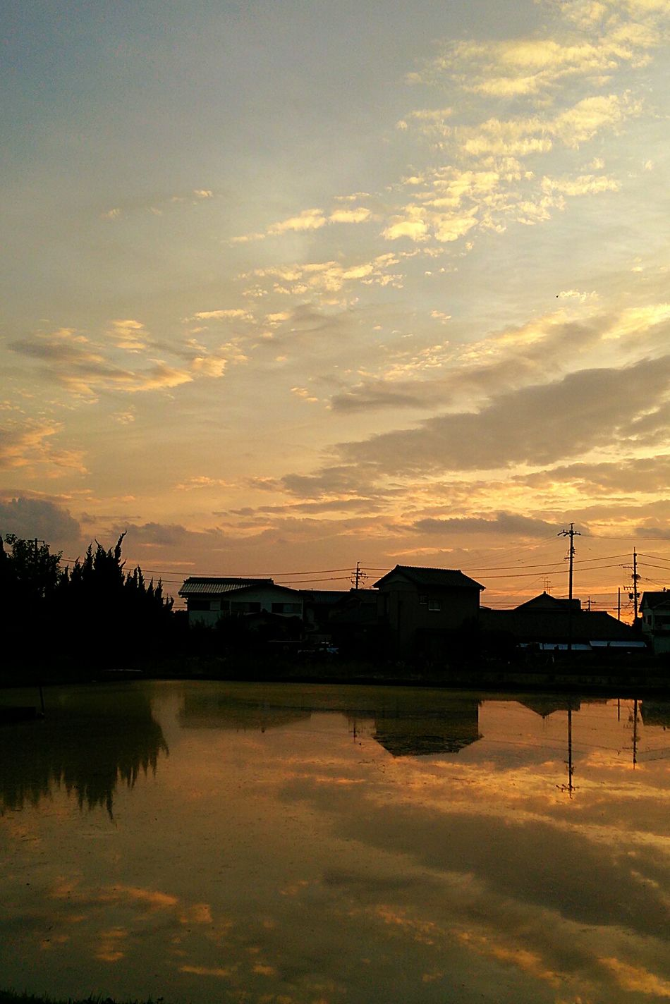 Reflection Reflections In The Water Sunset Nature View Clouds And Sky Sky Taking Photos TheWeekOnEyeEM Color Cloud Rural Rurallandscape 空 風景 景色 雲 Japan 反射 反映 EyeEm Best Shots - Nature Eyeemphotography EyeEm Nature Lover Eyeembestshot-reflection Welcome To Black