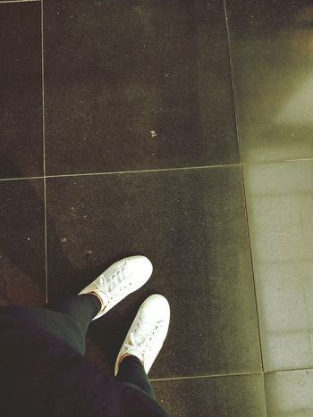 Shoe Personal Perspective High Angle View Canvas Shoe Standing White Black Live For The Story