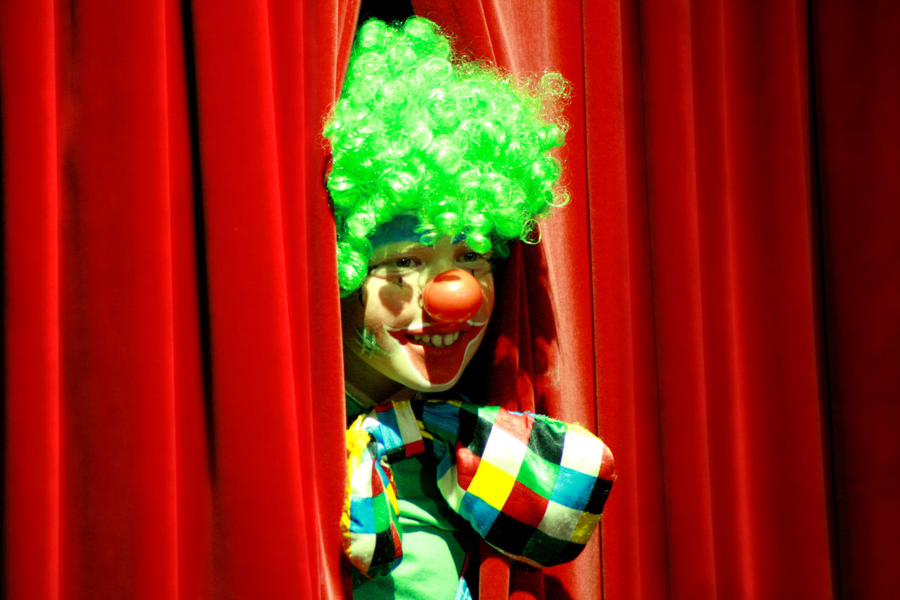 Circus Clown Front View Happiness Performer  Person Pipo Red Curtain