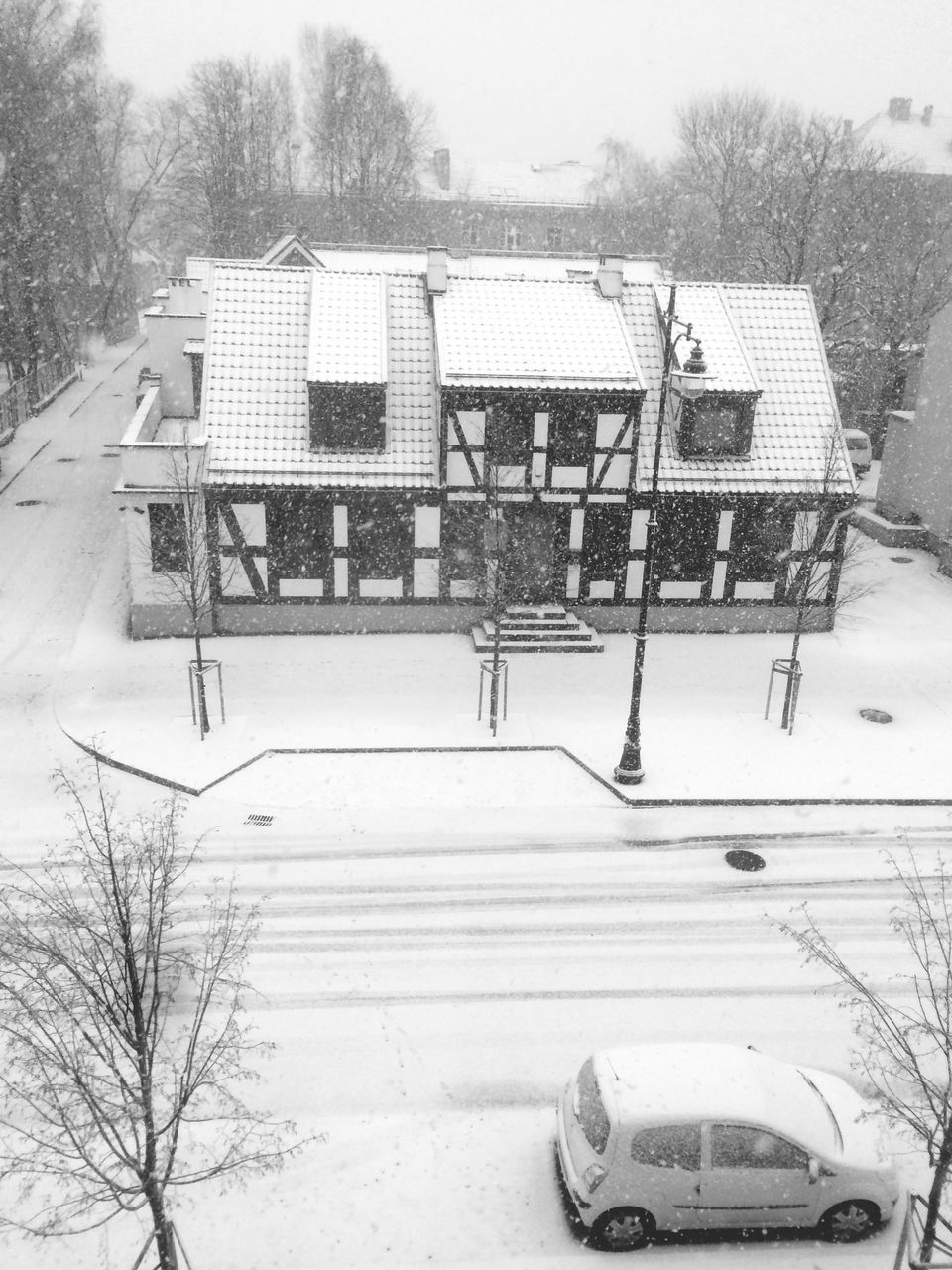 winter, snow, cold temperature, weather, tree, outdoors, day, building exterior, built structure, architecture, bare tree, road, nature, no people, snowing, sky