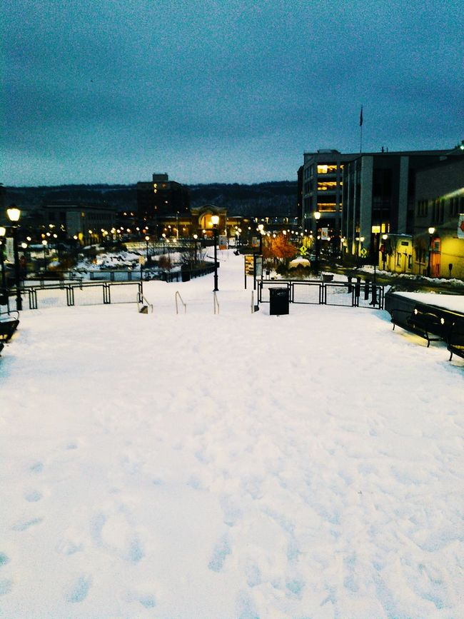 Yonkers Metronorth Train Station Snow Scenery Lights Colors Footprints Cold Winter