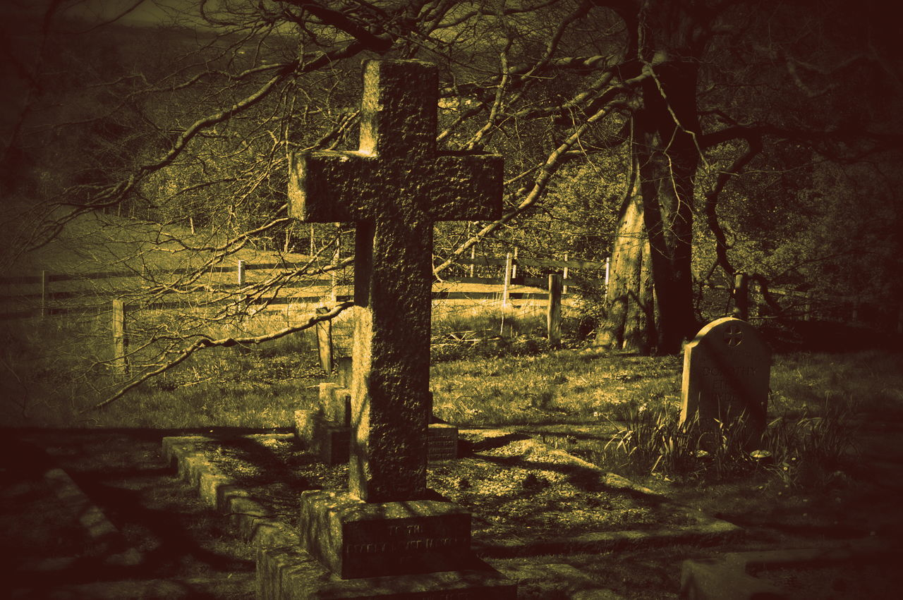 Staffordshire Cemetery Cross Crucifix Day Grave Gravestone Graveyard Memorial No People Outdoors Religion Spirituality Tombstone Tree