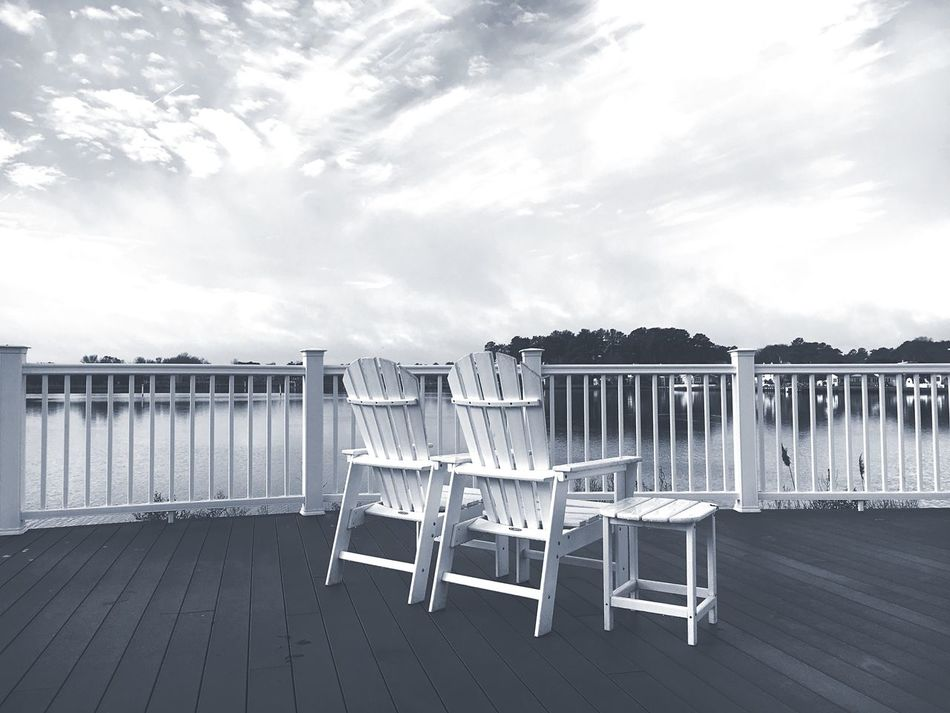 No People Sky Outdoors Cloud - Sky Cloudy Relaxing Relaxation Relaxing Time Blackandwhite Black And White Black & White Blackandwhite Photography Chairs Waterfront