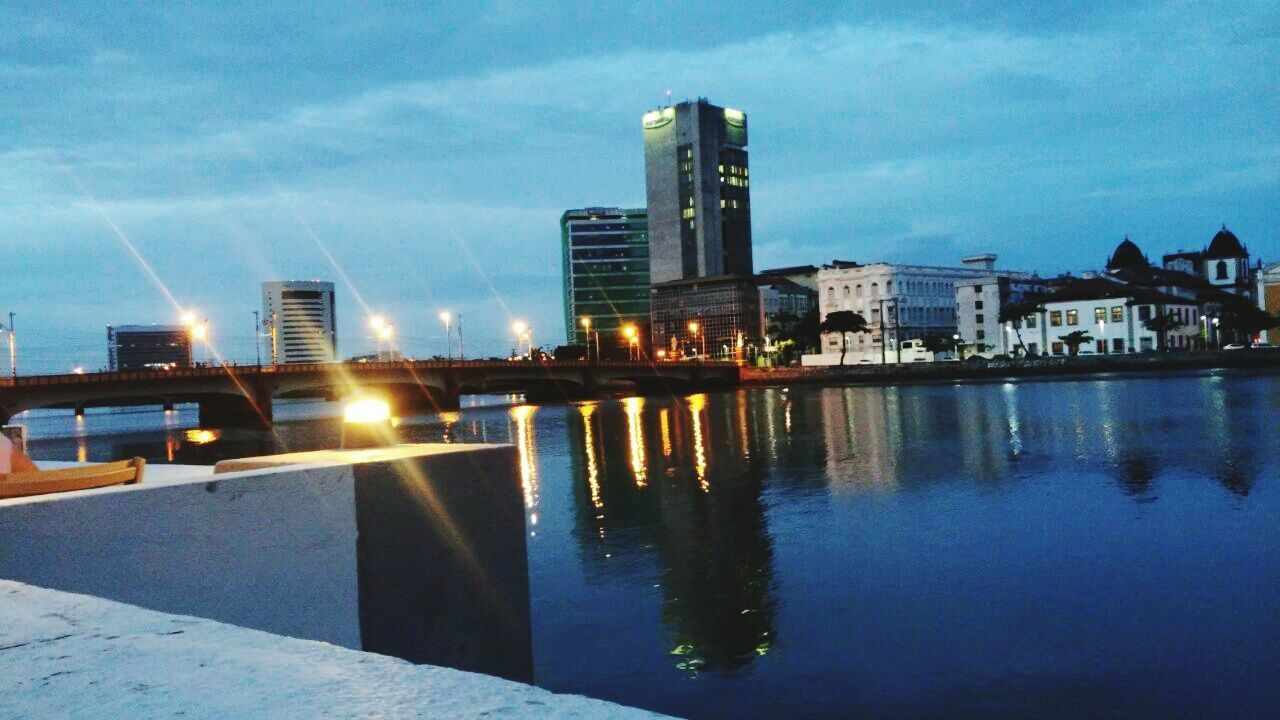 architecture, built structure, building exterior, sky, water, reflection, city, illuminated, no people, outdoors, river, waterfront, cloud - sky, day, nature