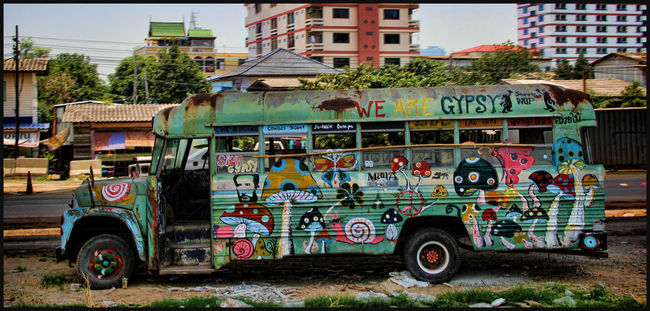 Art Bus City Graffiti Graffiti Art Gypsy Gypsylife Hippie Hippielife Mode Of Transport Multi Colored Painting Road Side View Stationary Street Thailand Thailandtravel Transportation