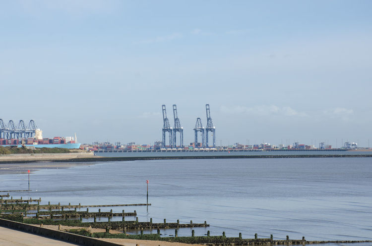 View of Felixstowe container port from Harwich Container Container Port Felixstowe Docks Freight Transportation Industry Portrait River Shipping  Trade Water Waterfront