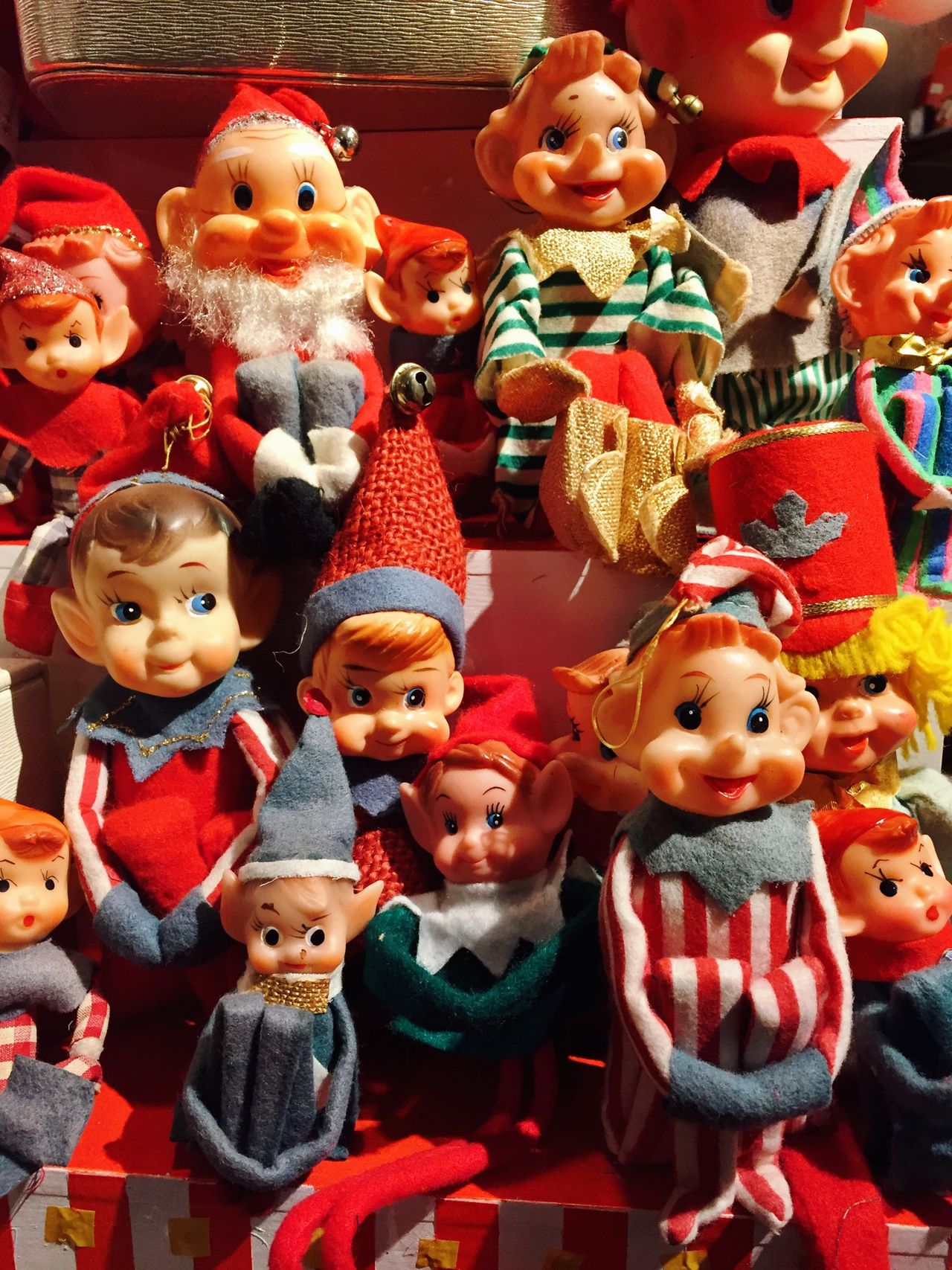 Toys Christmas Decorations Christmas Holidays Red Children Vintage Elves Group