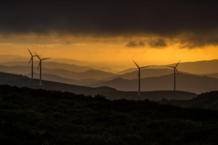 Alternative Energy Beauty In Nature Cloud Cloud - Sky Environment Environmental Conservation Europe Galicia Landscape Mountain Mountain Range No People Non-urban Scene Outdoors Renewable Energy Scenics Sky Spain, Tranquil Scene Tranquility Wind Power Wind Turbine Windmill