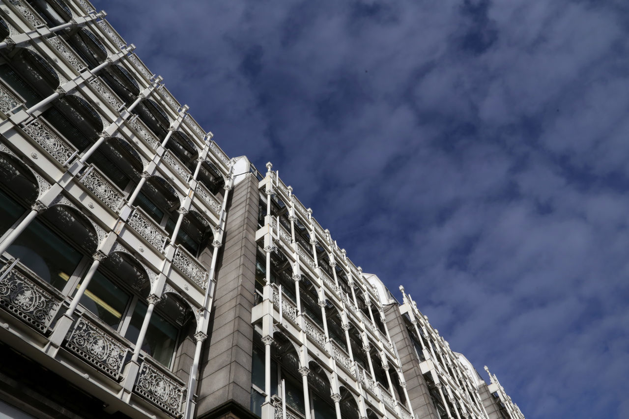 architecture, low angle view, built structure, building exterior, outdoors, sky, no people, cloud - sky, day, city